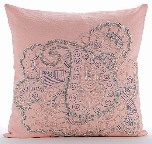 Designer Pink Pillows Cover, Beaded Indian Paisley Pillow... https://www.amazon.com/dp/B016H8UC8I/ref=cm_sw_r_pi_dp_x_6xi-ybXWNYV5V