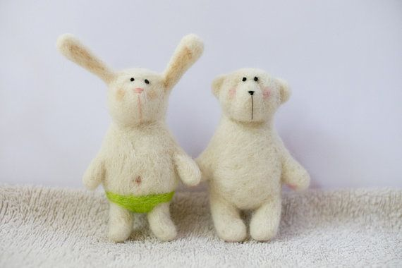 white rabbit in green underpants by totootse on Etsy