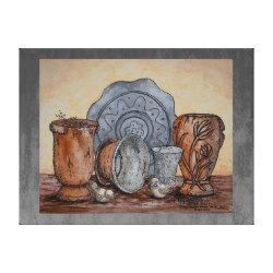 "My mixed media fine art still life painting ""The Potter's Pots"" was inspired by a shopping trip to a local business displaying handmade artisan pieces. I was inspired by the lovely arrangements. A lovely piece for Mediterranean, shabby chic or bohemian style decor. Customize this artwork with a different outer background color to enhance your own decor or use the filters to alter my ombre faux finish.     © Mary Roxanne Harmon ""Mr. H"", 2017 All rights reserved"