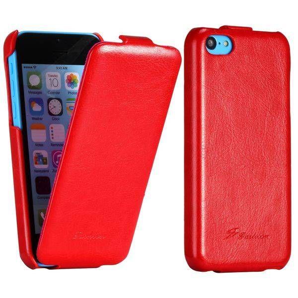 Rood leder klap hoesje iPhone 5C