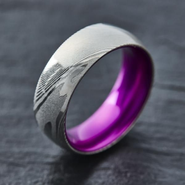 Wood Grain Damascus Steel Ring - Resilient Purple