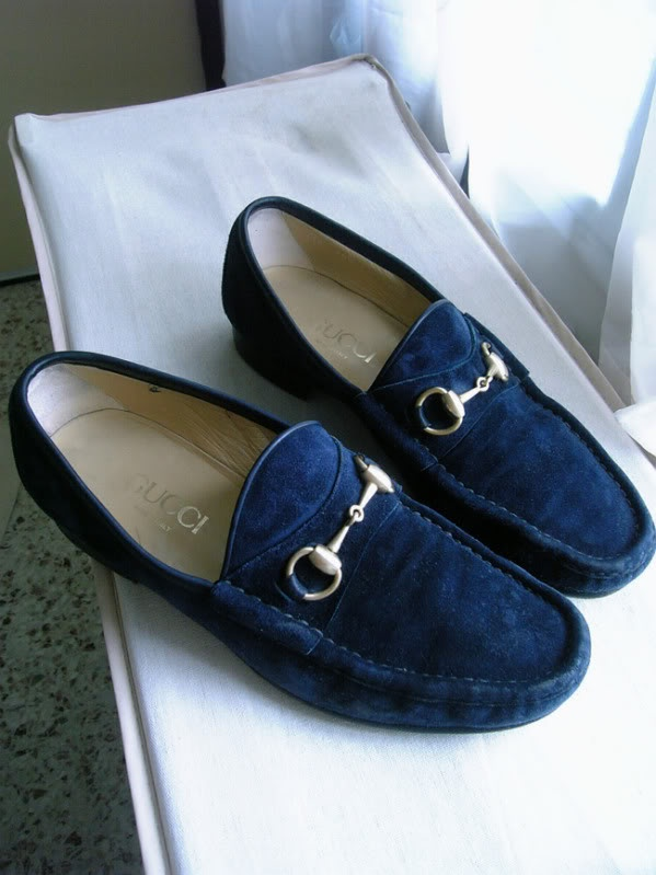 men's blue sway Gucci loafers