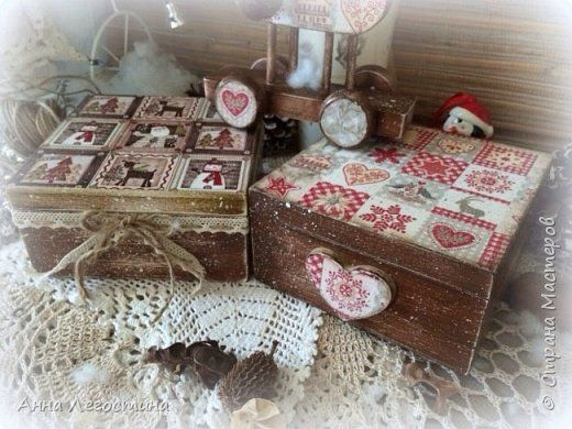 Декор предметов Новый год Декупаж Новогодние короба для упаковки конфет  Новогоднее настроение Дерево