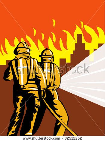 Two firefighters fighting a city on flames  #firefighters #retro #illustration
