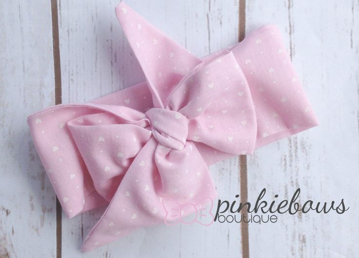 READY TO SHIP/Pink/Hearts/Baby/Girls/Toddler Fabric Head Wrap/Photo Prop by pinkiebows on Etsy
