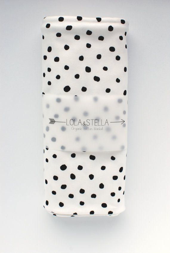 swaddle blanket Organic baby blanket in  black polka dots by LolaandStella