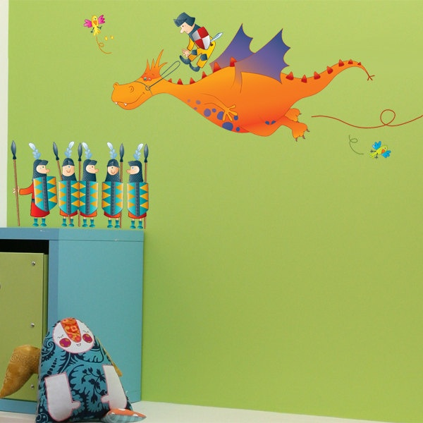 Knights Lilian the Dragon - Wall Decal - Color Print - H33 x W49. $34.99, via Etsy.