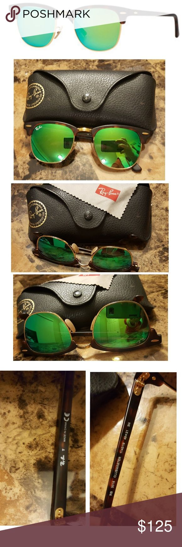 Ray Ban Clubmaster Green Mirror Sunglasses RAY BAN CLUBMASTER RB 3016 114519  FLASH GREY GREEN MIRROR LENSES SUNGLASSES  Only worn twice! Tortoise frame  Comes with carrying case (cleaning cloth not included)  Very minor/small scratch on side where ray ban logo is just noticed it today. Cant even tell! (Which is why I just lowered my price)  Retails for $190 Ray-Ban Accessories Sunglasses