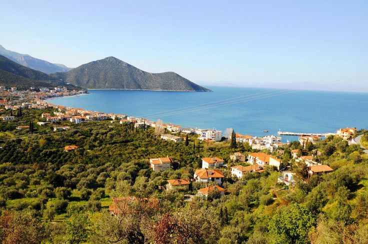 Panoramic view of beautiful Tyros in Peloponnese Greece. An amazing landscape.