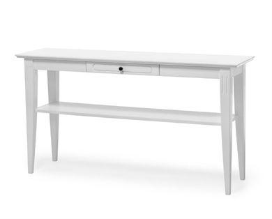 Viggsö avställningsbord i vitlackad björk/MDF. Snygg och enkel skärgårdsstil. Har en liten låda för förvaring och en hylla som sitter fast. Går även att få med ekfanérad topp.