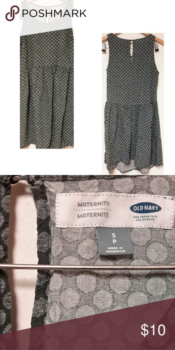 Old Navy Maternity Dress Gray polk a dot dress. Size is small petite. Front is slightly longer than back. 34 inches long. Old Navy Dresses