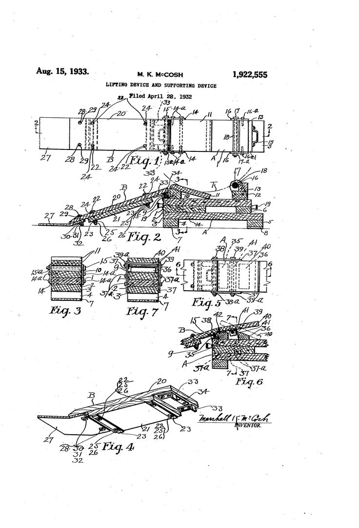 Patent US1922555 - Lifting device and supporting device