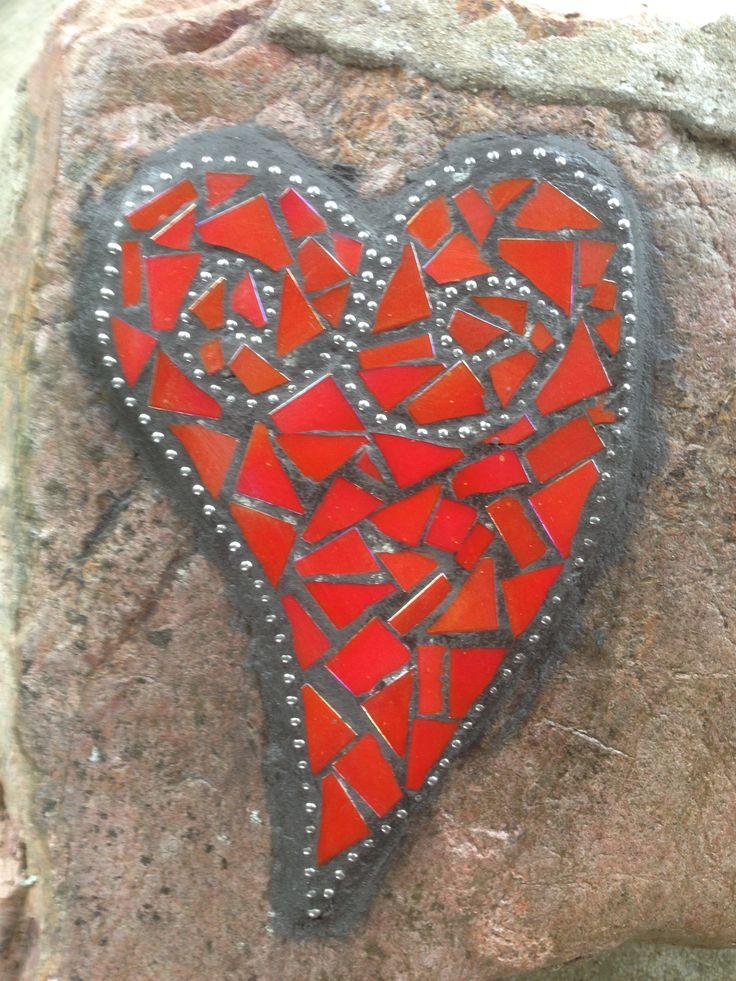 My mosaic heart on a rock