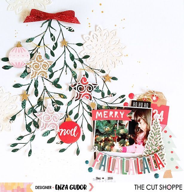 Hello everyone! Enza here, and today I'm sharing a layout featuring the Under the Mistletoe and Decked Out cut files. I started by cutting the mistletoe image four times, as I wanted to make it look #Startingascrapbook