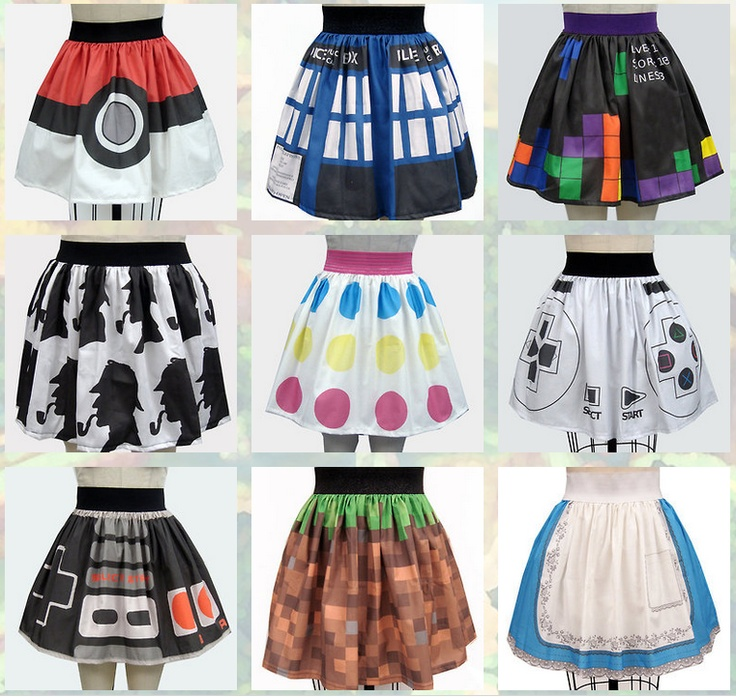 Super Cute Geek Chic Skirts! Pokemon, TARDIS, Tetris, Sherlock, Twister, Nintendo gamepad, Minecraft, Alice <3