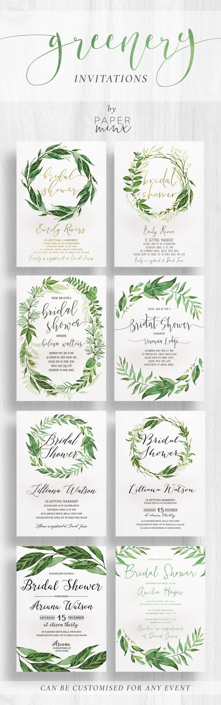 Greenery Bridal Shower Invitations by Paper Minx Designs || Available at www.paperminxdesigns.etsy.com || Boho Greenery | Garden Party | Kitchen Tea | Bridal Shower | Romantice Greenery ||