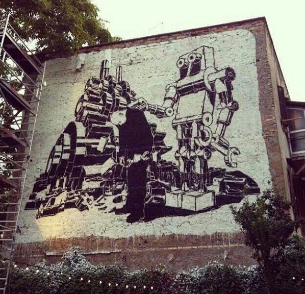 by Mariusz Waras (LP) #streetart #robot #wall #monochrome #black #white