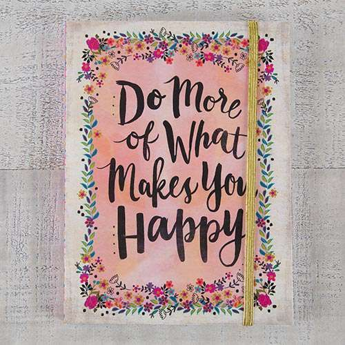 Natural Life Σημειωματάριο με λάστιχο «Do More Happy»