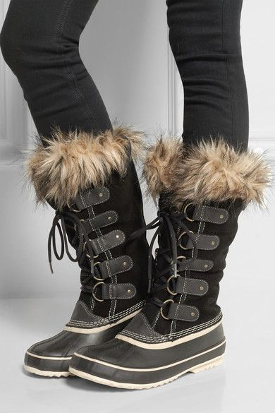 SorelSorel's 'Joan of Arctic' suede and leather boots are grounded by a handcrafted vulcanized rubber sole for optimum traction on slippery surfaces. Lined in warm felt and finished with an insulating faux fur cuff, this waterproof pair will keep feet warm and dry in temperatures as low as -32°C.