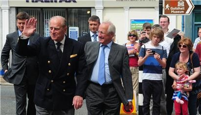 The Duke of Edinburgh, Prince Philip, arrives in Newport, Isle of Wight with Lord Lieutenant Maj Gen Martin White.