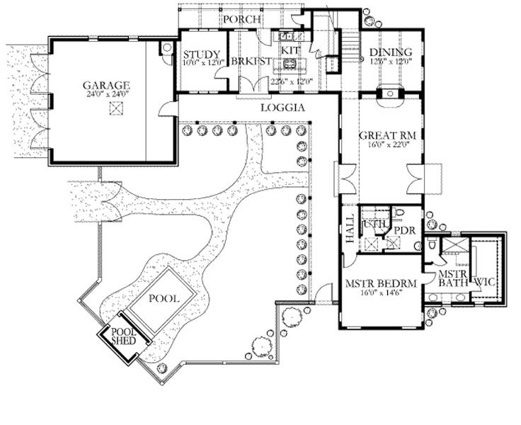 Courtyard Loggia Pool And Upper Guest Suite Floor Plan