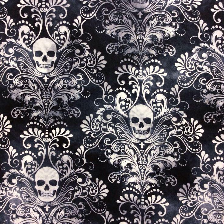 Tt69 Gothic Skull Damask Scary Halloween Tattoo Dead