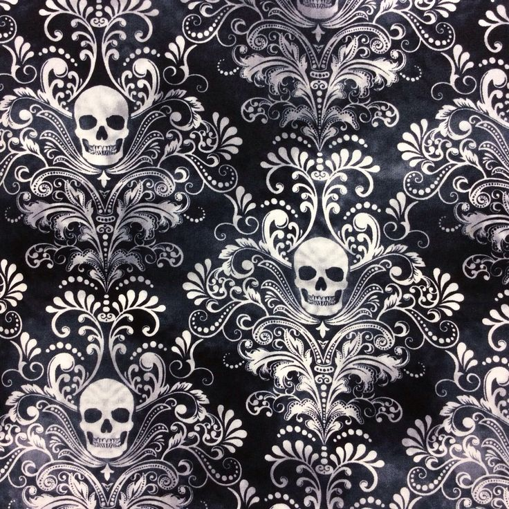 TT69 Gothic Skull Damask Scary Halloween Tattoo Dead Cotton Quilting Fabric | eBay