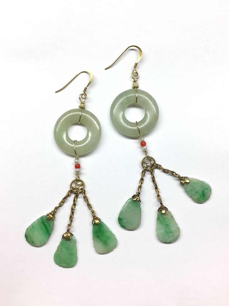 Jade Earrings - Antique Jade and Antique Jade Disc (over 100 years old, Qing Dynasty, A.D.1644-1912) Gold-Plated Sterling Silver Earrings by RitaCollection on Etsy