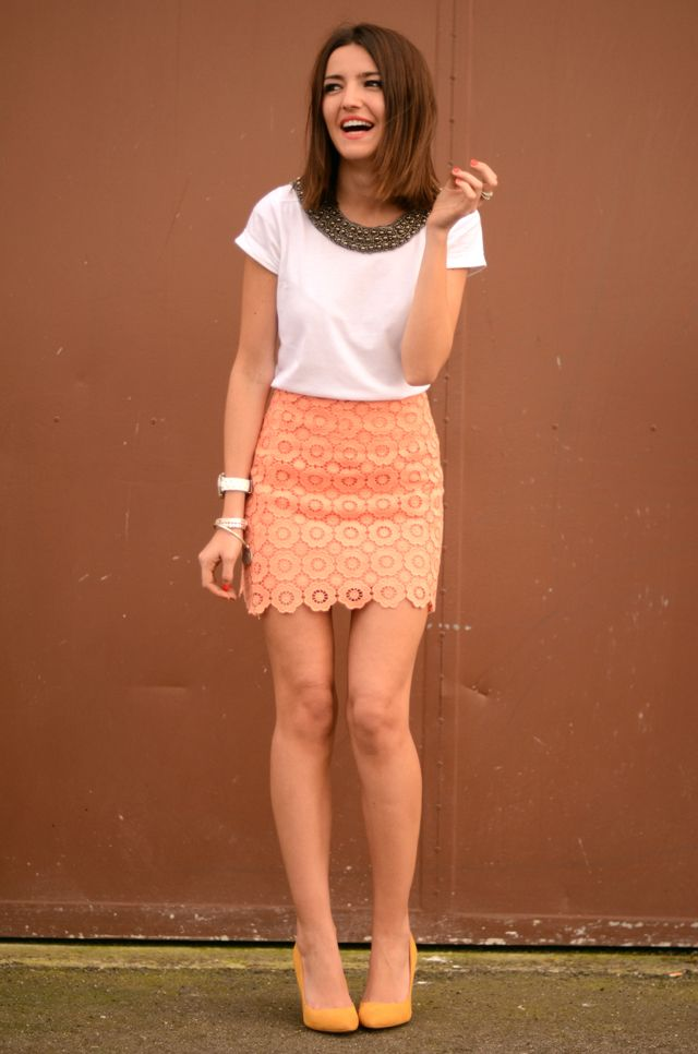 Nice: Style, Coral Skirt, Outfit, Dresses Skirts, Lace Skirts, Cute Skirts, Shirt