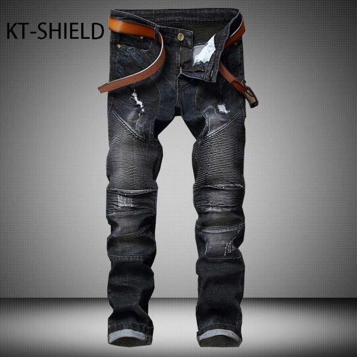 mens jeans fashion brand Biker pants trousers skinny Black ripped jeans for man denim vaqueros hombre Full Length pantalon homme