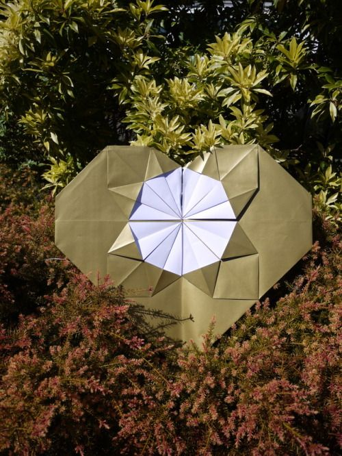 ♥ Nestled in the plants ♥ Giant Origami Heart Luxury handmade wedding decorations Check out our store - paperstreetdolls.etsy.com