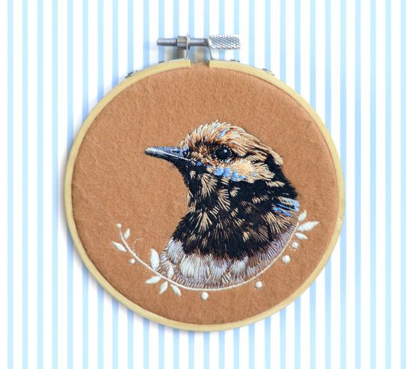 Embroidery Art . Bird .  Hand embroidery . 425'' by cOnieco