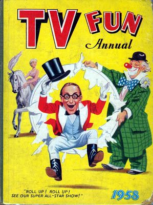 The TV Fun Annual 1958 was also published by Amalgamated Press but had less pages than its companion title at only 128 pages. The reason being that some of the content featured full colour strips. With Arthur Askey (himself an old Radio Fun character) bursting through a circus hoop on the cover and a painting on the back cover of singer Petula Clark swinging on a jungle vine over a river full of cattle is it any surprise that this era of comics inspires parodies in Viz today?