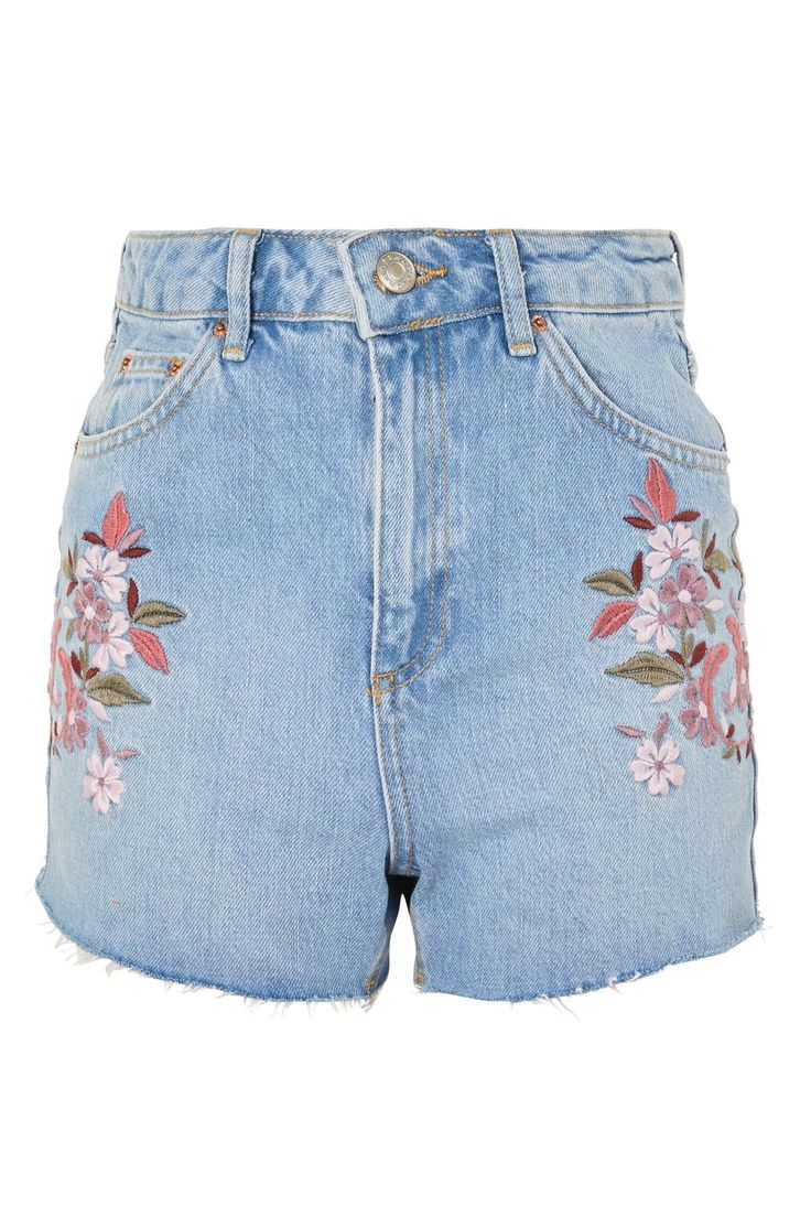 MOTO Embroidered Floral Mom Shorts