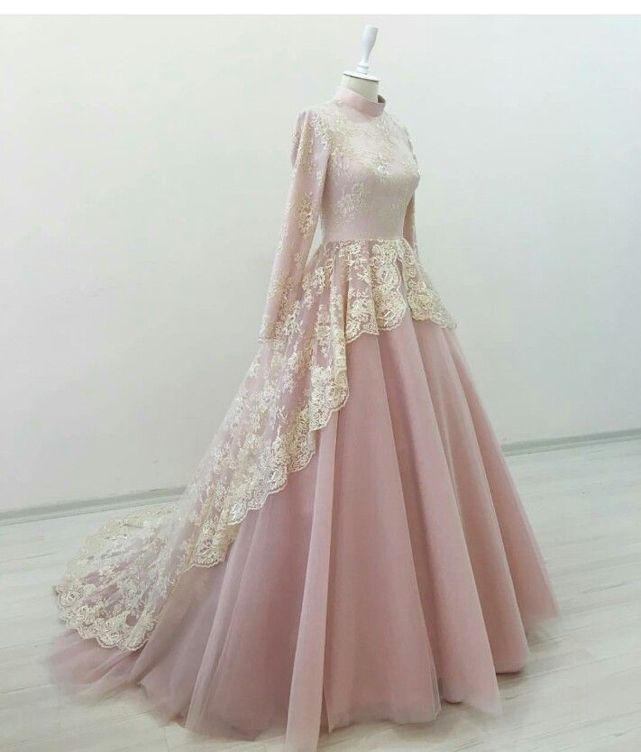 >> Click to Buy << 2016 Long Sleeve Wedding Dress Vestido De Noiva Pink  Wedding Gowns Lace Appliques High Neck Ball Gown For Bride HS025 #Affiliate