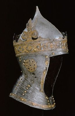 Courtesy of The Royal Armoury (http://emuseumplus.lsh.se/eMuseumPlus). The helmet of Gustav I of Sweden (Gustav Vasa) has a very unusual design, with its conical shape and gilded crown. It was probably made by the armourer Kunz lochner in Nuremberg in the 1540s.