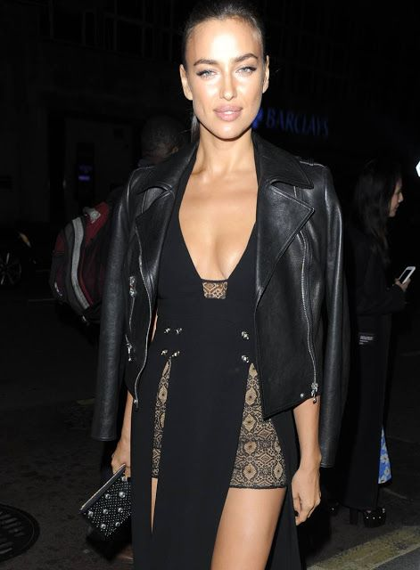 Celebrities In Leather: Irina Shyk wears a black leather jacket