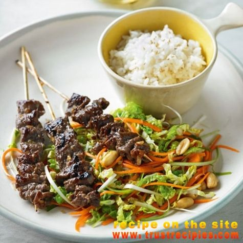 Sticky lemongrass beef skewers with chinese cabbage & peanut slaw