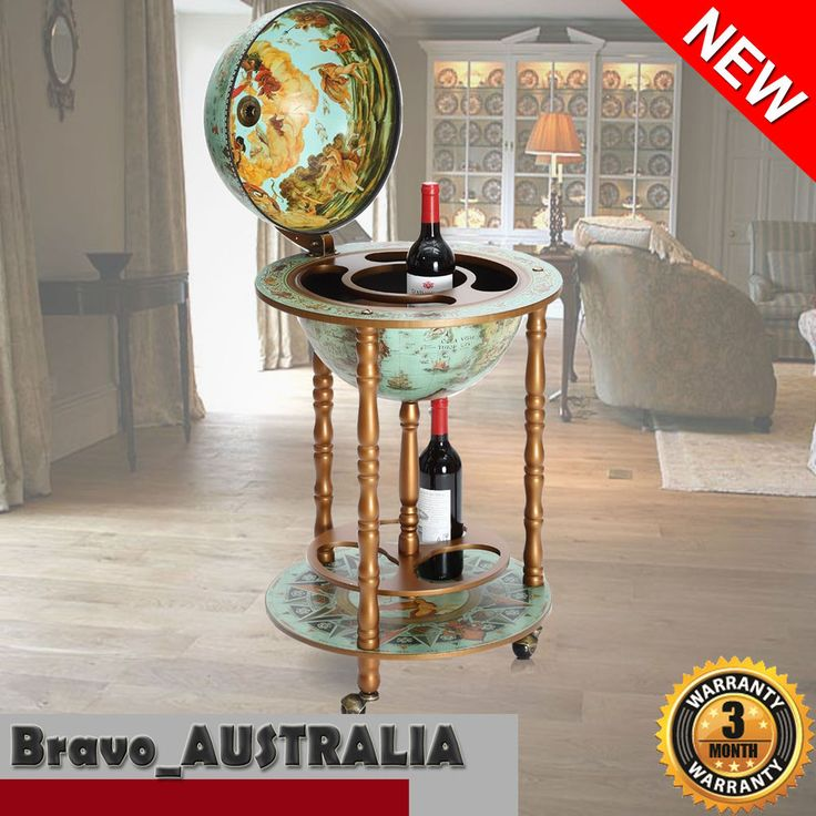 Antique Globe Alcohol Cabinet Mini Bar Drinks Serving Trolley Cart Luxury Gift