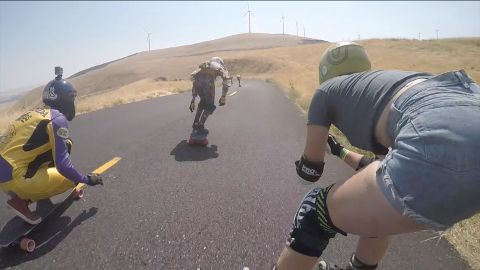 GoPro footage from skateboarding runs down the famous Maryhill Loops Road in the Columbia River Gorge.