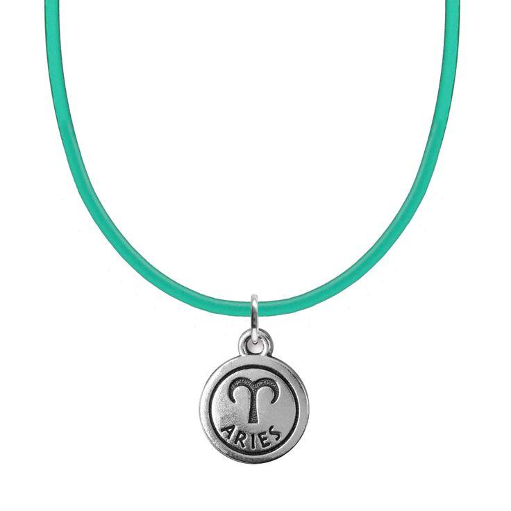Green Zodiac Charm Neoprene Necklace