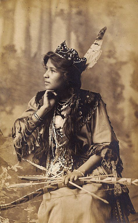 Ah-Weh-Eyu (aka Pretty Flower, aka Goldie Jamison-Conklin) the daughter of Jacob J. Jamison and Eliza D. Jamison, and the wife of Charles Conklin - Iroquois (Seneca) - circa 1910  {Note: Pretty Flower was a paid model to help advertise the Cattaraugus Cutlery Company, located near the Seneca Reservation in Cattaraugus County, New York.}