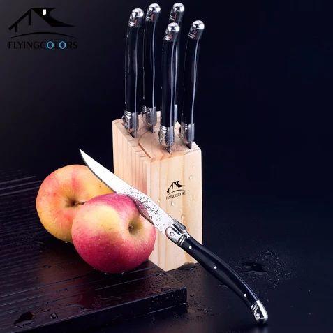 2015 новый 6 шт./лот 9 дюймов черный Laguiole стиль нержавеющей стали острые ножи с деревянной коробке классическая кухня ножевые изделия комплект