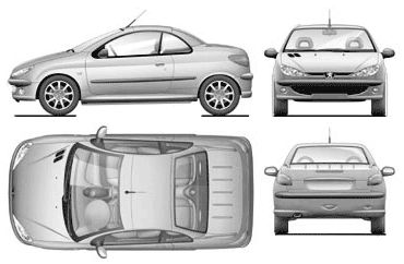 Peugeot 206cc templates views