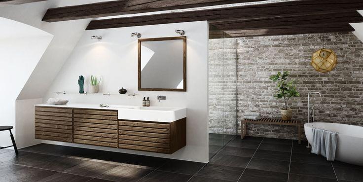 Klassisk men moderne badeværelse med elementer i valnød