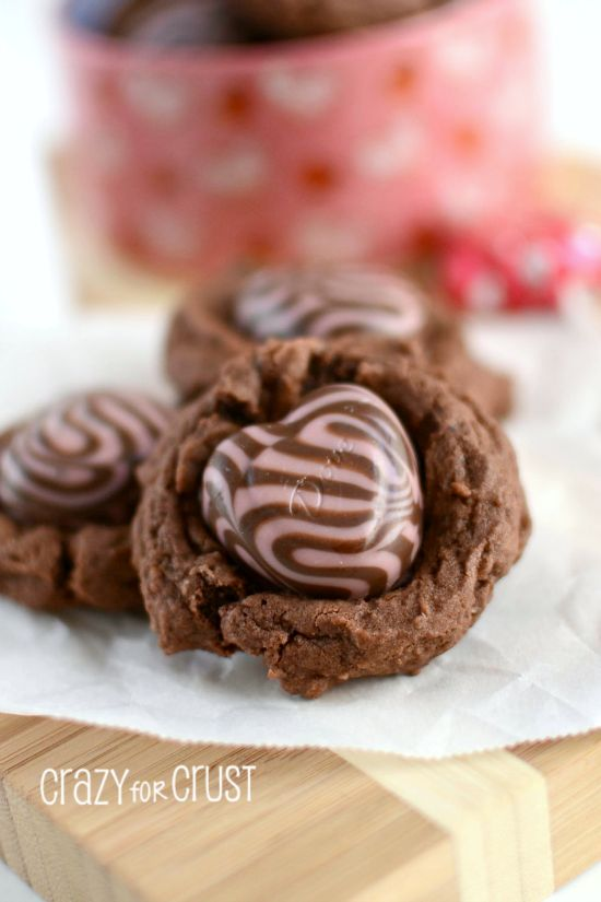 Nutella Chocolate Pudding Cookies with Strawberry #Dove Hearts by www.crazyforcrust.com   A soft chocolate pudding cookie filled with Nutella and topped with a strawberry swirl heart, perfect for Valentine's Day! #Nutella