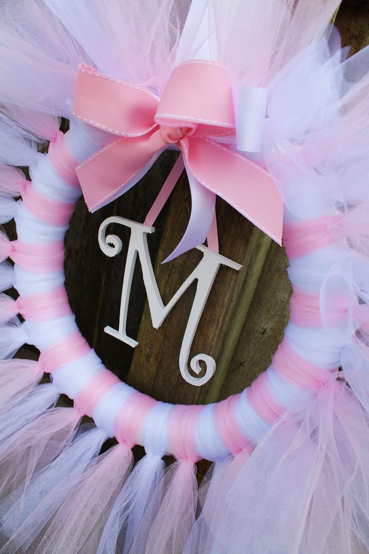 Pink and White Tulle Tutu Ballerina Princess Wreath with Wooden Letter for Birthday or Baby Shower.