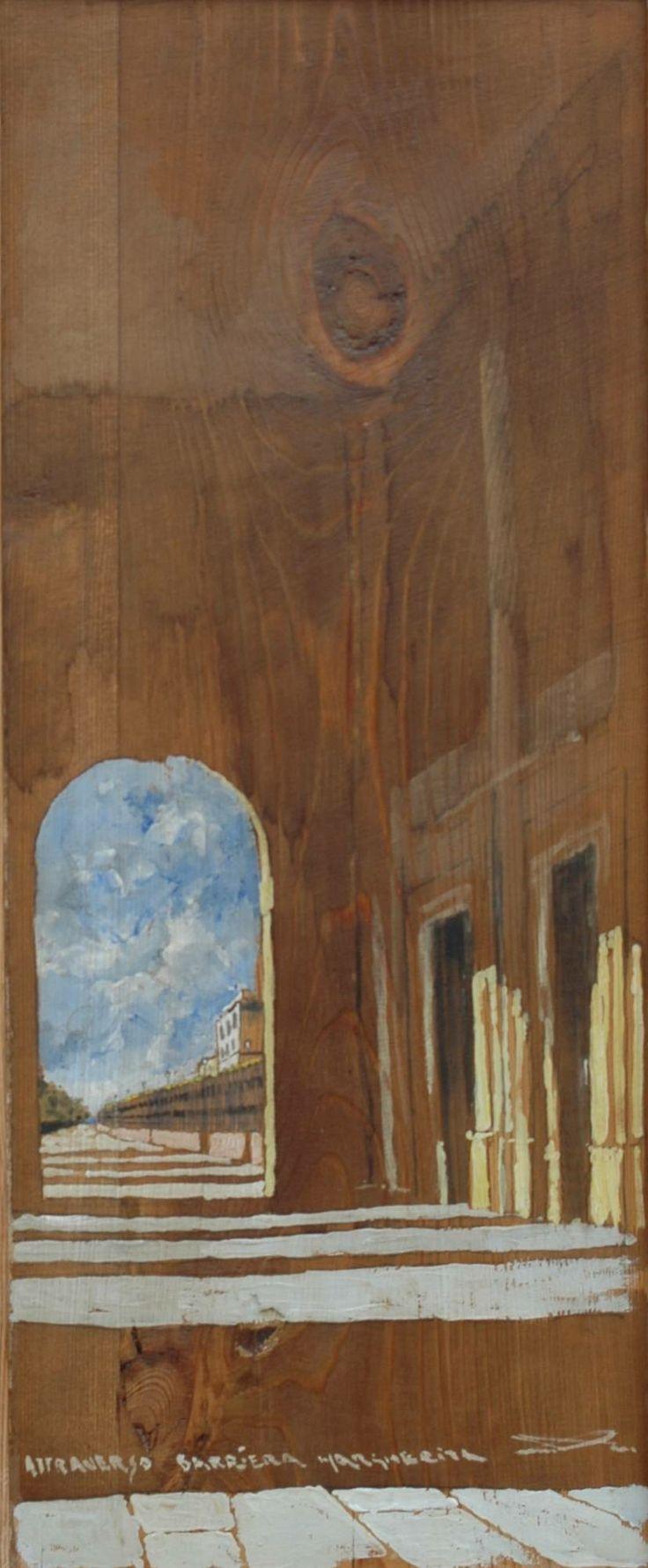 Massimo Lomi Barriera Margherita Tempera su tavola cm 40x30