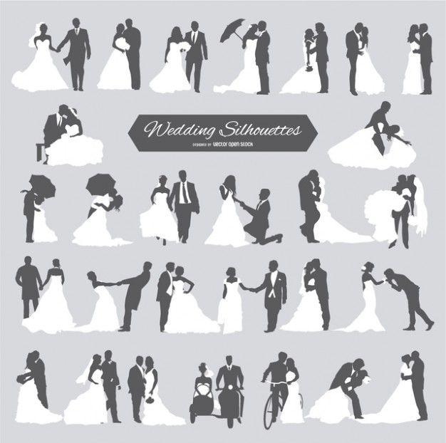 Sechs Hochzeitspaare in der Silhouette Kostenlose …
