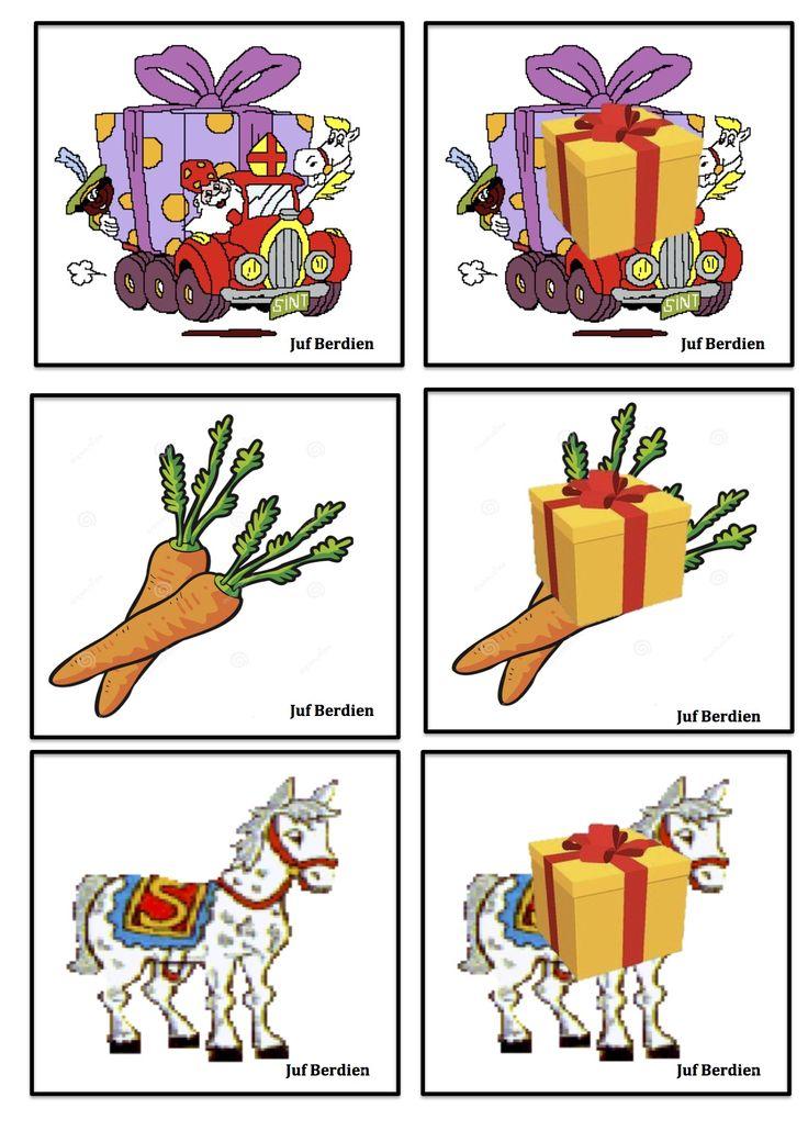 Juf Berdien Verstopmemory 2 Pakje Sinterklaas Zwarte Piet kleuters klas